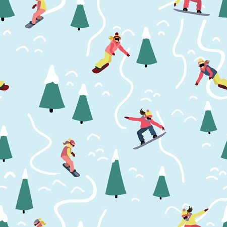 Snowboarding women seamless vector pattern. Winter sport illustration with woman on snowboard riding down a hill. Mountain outdoor sport. Use for fabric, sports wear, flyer, poster