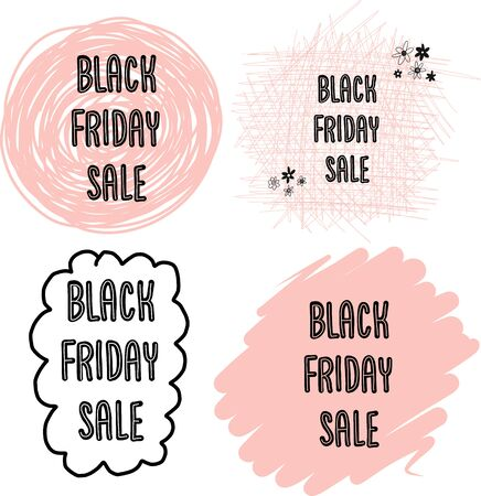 Feminine Black Friday Sales Banner Set Vector. Handwritten typography on dots, circles, scribbles in pink for promotional flyers, cards. Cute women sale text.