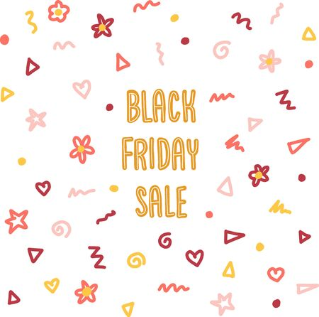 Black Friday Doodle Sales Banner Set Vector. Kids hand written typography with dots, circles, scribbles, flowers in pink red orange for promotional flyers, cards. Cute children sale text. 일러스트