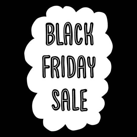 Black Friday Sale Doodle Vector Banner monochrome. Black and white Black Friday sale banner template. White cloud shape with discount symbol on white background. Doodle style. Comic style. Иллюстрация