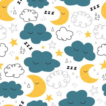Good Night seamless vector pattern with cute sleeping moon, stars and clouds. Sweet dreams repeating background. Vector illustration for fabric, kids wear, bedding, nursery