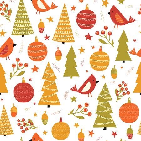 Christmas birds ornaments and trees seamless vector pattern. Winter holidays repeating background for fabric, kids decor, gift wrap Ilustração