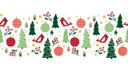 Christmas trees, birds, ornaments, mistletoes seamless vector border. Scandinavian style green and red Christmas holiday repeating pattern. Cute Winter forest. Use for ribbons, fabric trim, cards Фото со стока - 133989356