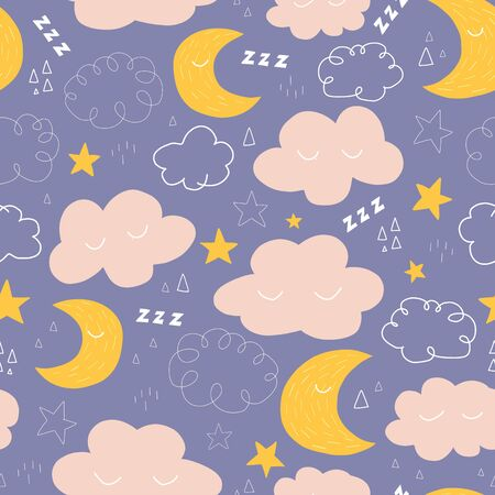 Moon, stars and clouds seamless vector pattern with cute night sky characters. Sweet dreams repeating background. Good night Vector illustration for fabric, kids wear, bedding, nursery, decoration