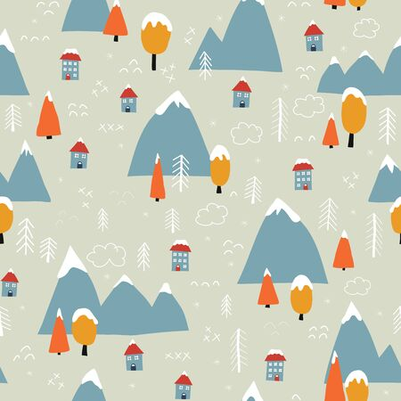 Winter landscape seamless vector pattern. Christmas town background. Mountains, forest trees, houses covered in snow. Scandinavian flat cartoon style. For wallpaper, gift wrap, greeting card, fabric