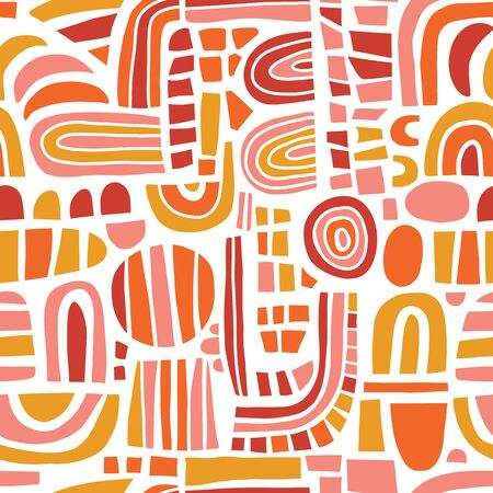 Abstract mosaic shapes pink orange red seamless vector pattern. Contemporary Geometric elements puzzle background. Modern happy kids print. Use for girl decor, fabric, packaging Фото со стока - 134060411