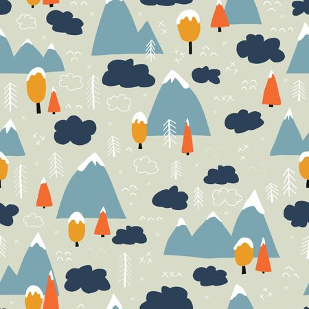 Winter forest and mountains seamless vector background. Winter season pattern. Mountains, forest trees covered in snow. Clouds cold weather design. Scandinavian flat cartoon style. Wallpaper, fabric Иллюстрация