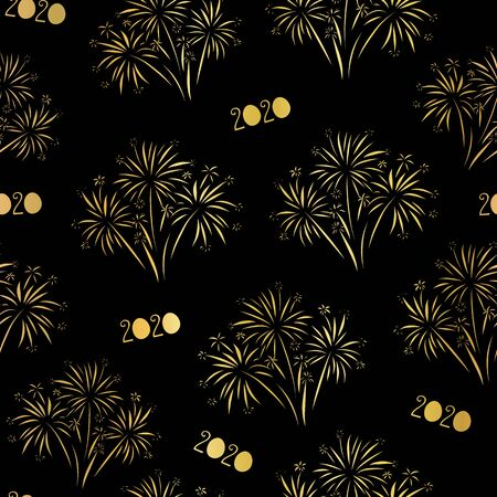 Fireworks 2020 Happy New Year seamless vector pattern. Repeating background for New Years Eve. Metallic shiny Gold foil effect. Elegant design for invitation, cards, poster, banner, party invite Иллюстрация