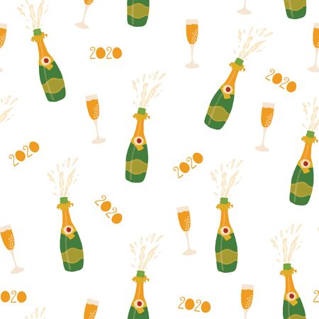 Champagne 2020 New Years Eve celebration seamless vector pattern. Repeating New Year party background with bottles, sparkling wine glasses. Champagne flutes. Use for party invitation, cards, poster Иллюстрация