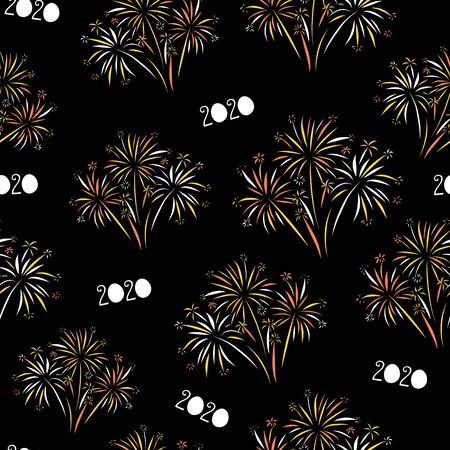 2020 Fireworks Happy New Year seamless vector background. Repeating pattern for New Years Eve. Festive design on black background for invitation, cards, poster, banner, party invite Иллюстрация