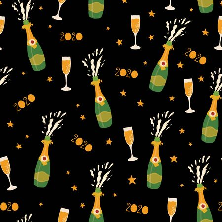 2020 Champagne bottles New Years Eve celebration seamless vector pattern. Repeating New Year party background with bottles, sparkling wine glass flutes. Use for party invitation, cards, poster