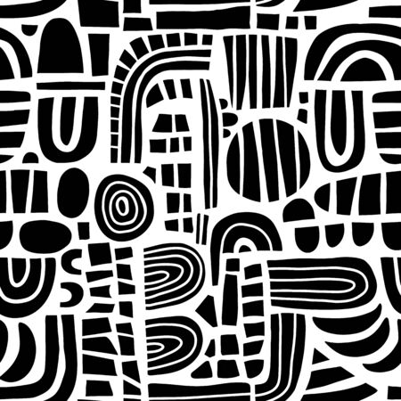 Abstract black and white mosaic shapes seamless vector pattern. Monochrome contemporary Geometric elements puzzle background. Modern kids print. Use for home decor, fabric, packaging, wallpaper Фото со стока - 134279568
