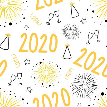 2020 New Years Eve celebration seamless vector pattern. Repeating New Year party background with champagne wine glasses, fireworks, party hats. Use for party invitation, cards, poster, fabric