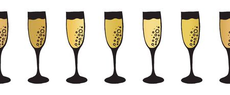 Gold foil champagne flutes seamless vector pattern border. Golden sparkling wine alcohol drinking glasses on white background. Elegant decor for restaurant, bar menu, party, wedding, celebration 일러스트