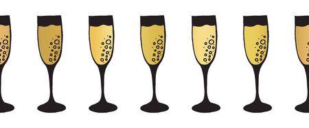 Gold foil champagne flutes seamless vector pattern border. Golden sparkling wine alcohol drinking glasses on white background. Elegant decor for restaurant, bar menu, party, wedding, celebration Иллюстрация