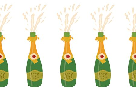 Champagne bottles seamless vector border. Repeating party background with exploding sparkling bottles. Party banner. Use for elegant, exclusive party invitation, cards, poster