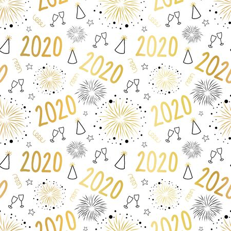 New Year 2020 celebration seamless vector pattern. Repeating background New Year Eve party background with champagne wine glasses, fireworks, party hats. Gold foil effect. use for part invite, cards Фото со стока - 134468485
