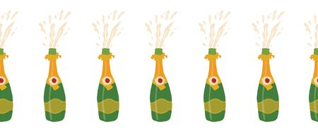 Champagne bottles repeating vector border. Seamless party background with exploding sparkling bottles. Party banner. Use for elegant, exclusive party invitation, cards, poster