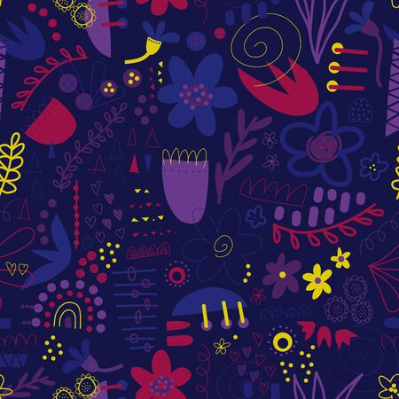 Seamless pattern abstract shapes collage purple blue pink yellow. Modern background design with doodle flowers, hearts, elements for fabric, textile, wallpaper, postcards, kids decor