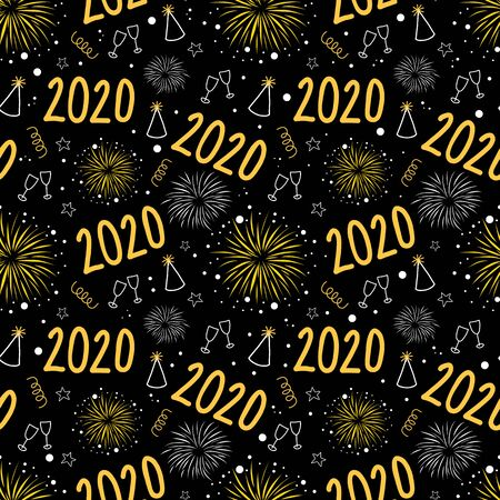 2020 New Years Eve firework celebration seamless vector pattern. Repeating New Year party background with champagne wine glasses, fireworks, party hats on black. For party invitation, cards, posters Иллюстрация