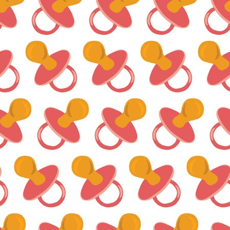 Pacifier pink seamless vector pattern. Repeating baby theme background flat style hand drawn soother binky illustration. Use for baby girl fabric, digital scrapbooking, packaging, shower invitation Фото со стока - 134468504