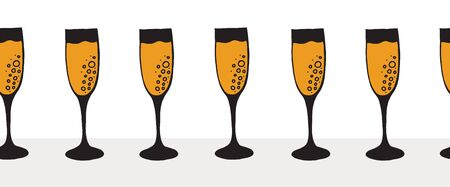 Champagne flutes in a row seamless vector border. Golden sparkling wine alcohol in drinking glasses with bubbles repeating background. Elegant decor for restaurant bar menu, party, wedding celebration