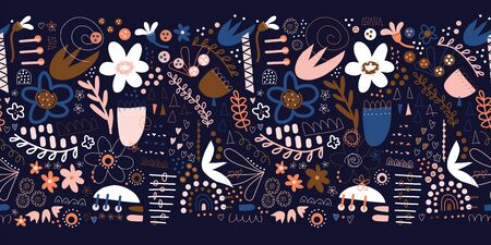 Seamless floral doodle border with plants and abstract shapes in blue pink white brown. Modern repeating pattern design with hand drawn flowers, hearts for banners, cards, packaging, kids decor, trim Фото со стока - 134468509