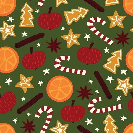 Winter Christmas spices seamless vector pattern. Repeating background of star anise, apple, orange, cinnamon rolls, cookies, candy canes. Hand drawn isolated objects on green background.