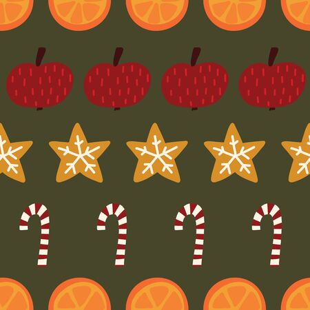 Candy canes, cookies, oranges, apples seamless Christmas background. Vector Winter spices repeating pattern. Hand drawn isolated objects on green background. Use for holiday cards, fabric, decor