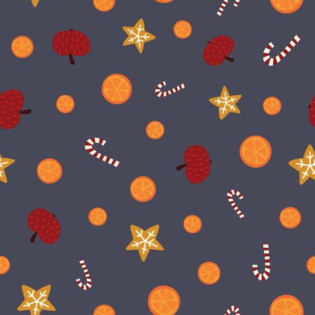 Christmas seamless vector background with apples, oranges, cookies, candy canes. Hand drawn repeating pattern on blue backdrop. Cute Scandinavian flat style design with Christmas treats.