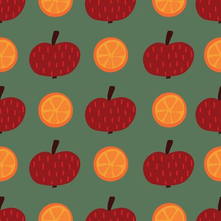 Apples and oranges seamless vector pattern. Hand drawn fruit illustration background. Flat Scandinavian style. Use for kids fabric, home decor, packaging Иллюстрация