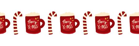 Christmas seamless vector border with Merry Christmas mugs and candy canes. Repeating Holiday design hand drawn. Hot drink, tea, or chocolate design for card decoration, ribbon, trim, kids