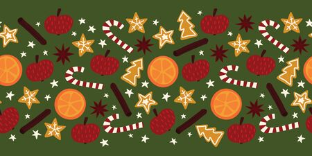 Christmas spices seamless vector border. Repeating background of star anise, apple, orange, cinnamon rolls, cookies, candy canes. Hand drawn isolated objects on green for card decor, banner Иллюстрация