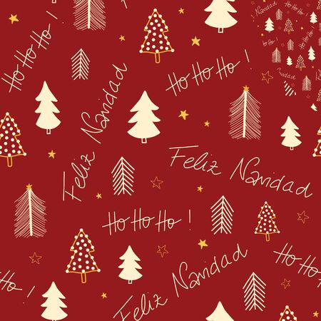 Merry Christmas in Spanish language and Hoho hand lettering and Christmas trees seamless vector pattern. Repeating background Holiday greetings on a red background. Use for gift wrap, banner, fabric