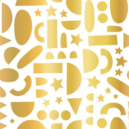 Abstract gold foil shapes on white seamless vector background. Metallic golden geometric half circles, stars, dots, rectangles. Modern abstract Christmas holiday pattern