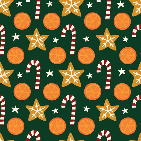 Oranges, cookies, candy canes seamless vector Christmas pattern. Winter spices repeating background. Hand drawn isolated objects on green background. Use for holiday cards, fabric, decor, packaging