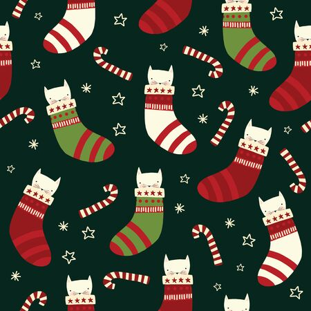 Christmas cats seamless vector background with kittens in stockings, candy canes. Repeating holiday pattern red white green. Scandinavian style for kids fabric, decor, packaging, gift wrap Иллюстрация