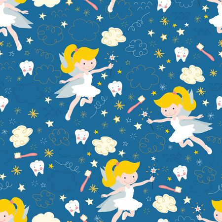 Tooth fairy seamless vector pattern. Cute fairies with wand on blue background with teeth, toothbrush, stars and clouds. Repeating backdrop for kids dentistry, dental clinic, children fabric, decor.