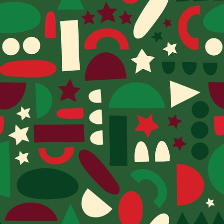 Abstract shapes background in Christmas colors seamless vector background. Green red white geometric half circles, stars, dots, rectangles. Modern abstract Christmas holiday pattern.