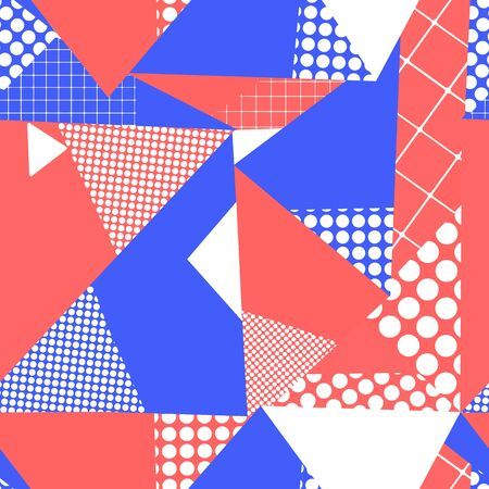 Geometric abstract triangle collage seamless vector background. Red, blue, and white contemporary repeating pattern. Use for fabric, wallpaper, packaging, surface pattern design Иллюстрация