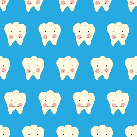 Tooth with smiling face cartoon style seamless vector pattern. Dental repeating background with cute white teeth. Use for kids dentistry, dental clinic advertisement, flyer, card, packaging.
