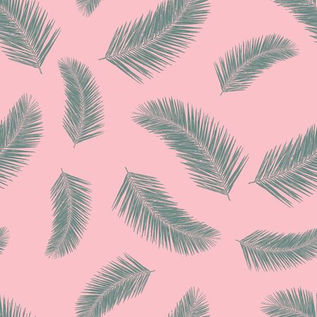 Abstract exotic palm leaf plants seamless vector pattern. Green tropical leaves on pink background. Tropical floral repeating backdrop. Vector illustration for fabric, packaging, banners, wrapping Иллюстрация