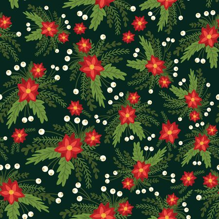 Christmas flowers red Poinsettia seamless vector pattern. Flat Scandinavian style abstract florals and leaves background. Hand drawn Holiday design for fabric, gift wrap, packaging, surface pattern. Иллюстрация