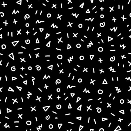Seamless pattern black and white geometric shapes. Hand drawn vector background monochrome doodle circle triangle scribble. Repeating texture for fabric, packaging banners, surface pattern design