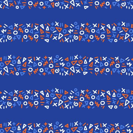 Seamless pattern geometric doodle shape stripes. Creative striped vector repeating background blue red white. Horizontal lines. Use for kids fabric, packaging, surface pattern design., 4th of July Иллюстрация