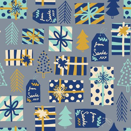 Blue Christmas seamless vector background. Gift boxes, trees and tags seamless vector pattern. Repeating backdrop with wrapped presents. Christmas holiday design Scandinavian style for fabric, decor.