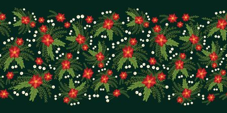 Red Poinsettia Christmas flowers seamless vector border. Flat Scandinavian style abstract florals and leaves pattern background. Hand drawn Holiday design for packaging, surface pattern design, cards. Иллюстрация