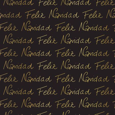 Merry Christmas in Spanish language hand lettering gold foil effect seamless vector pattern. Repeating background golden text on black. Holiday greetings. Use for gift wrap, banner, packaging. Иллюстрация