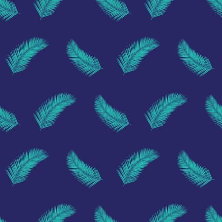 Palm tree leaves seamless vector pattern teal and blue. Abstract exotic tropical leaf background. Floral summer repeating backdrop. Vector illustration for fabric, packaging, banners, wrapping Иллюстрация