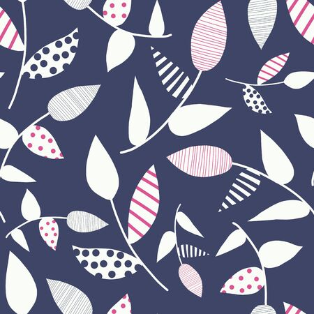 Abstract white doodle leaves on blue background. Minimalistic seamless vector nature pattern. Pink white blue leaf shapes illustration. Use for fabric, surface pattern design, wallpaper, wrapping